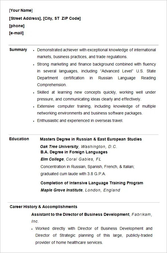 Student Cv Template Resume Templates College Students No Experience