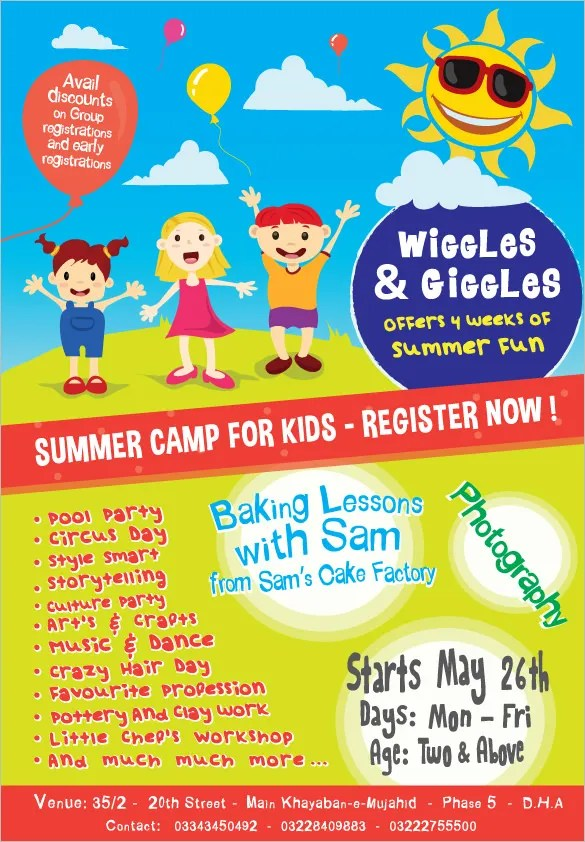 Summer Camp Flyer Templates \u2013 43+ Free JPG, PSD, ESI, InDesign - pamphlet sample