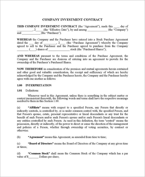 11+ Investment Contract Templates \u2013 Free Word, PDF Documents