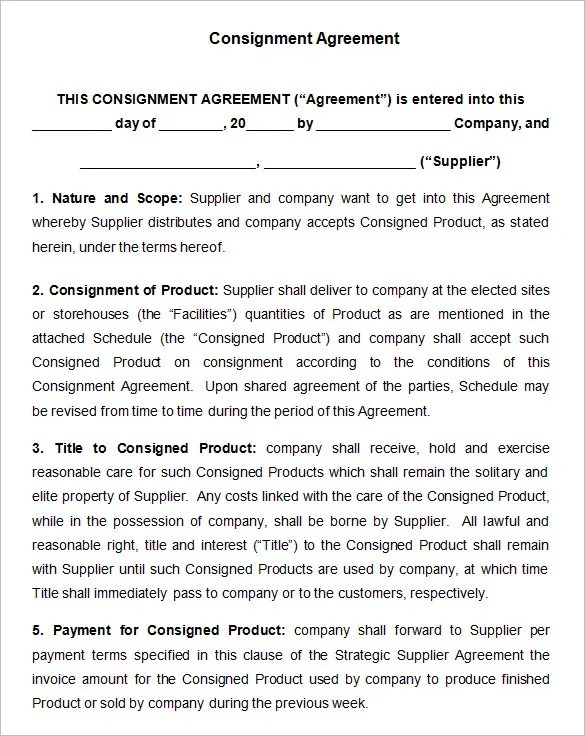 Consignment Contract Template - 7+ Free Word, PDF Documents Download - consignment template