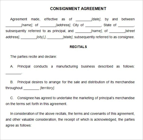 Consignment Contract Template - 7+ Free Word, PDF Documents Download - Consignment Agreement Template