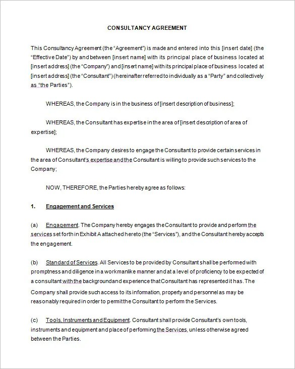 6+ Consulting Contract Templates u2013 Free Word, PDF Documents - it service agreement template