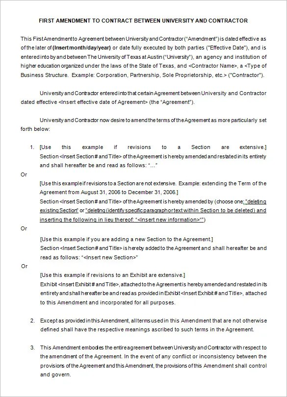 3+ Contract Amendment Templates - Free Word, PDF Documents - contract amendment template