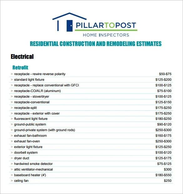 6+ Contractor Estimate Templates - PDF, DOC Free  Premium Templates - remodeling estimate