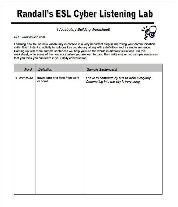 7+ Blank Vocabulary Worksheet Templates - Word, PDF Free  Premium