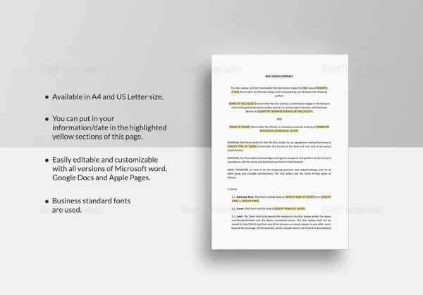 8+ DJ Contract Templates u2013 Free Word, PDF Documents Download - dj contract template