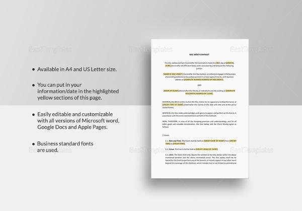14+ DJ Contract Templates - PDF, Google Docs, Apple Pages Free