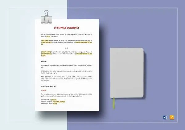 13+ Music Contract Templates u2013 Free Word, PDF Documents Download - dj contract template