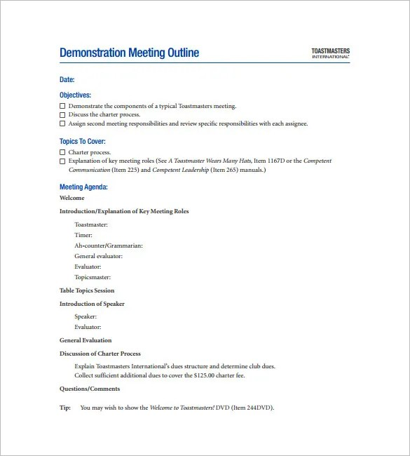 9+ Meeting Outline Templates \u2013 Free Word, PDF Documents Download