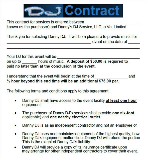 8+ DJ Contract Templates u2013 Free Word, PDF Documents Download - music agreement contract