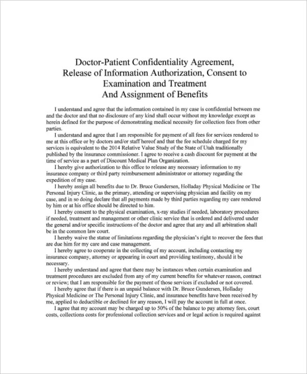 10+ Patient Confidentiality Agreement Templates \u2013 Free Sample