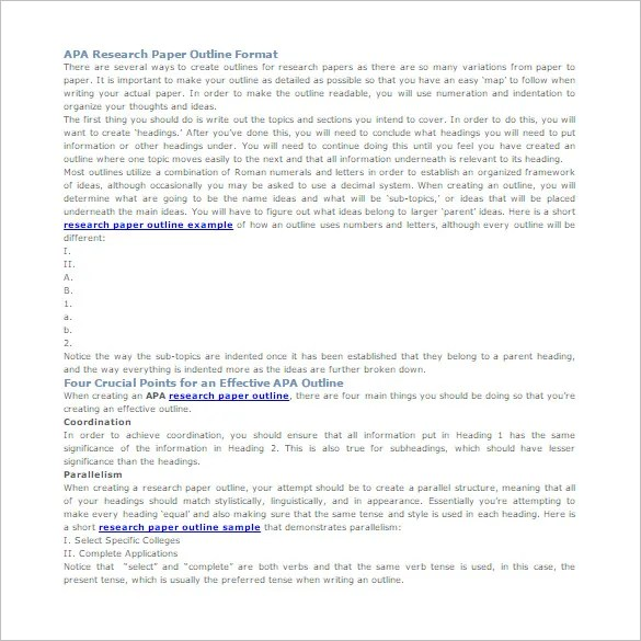 5+ Research Outline Templates \u2013 Free Word, PDF Documents Download