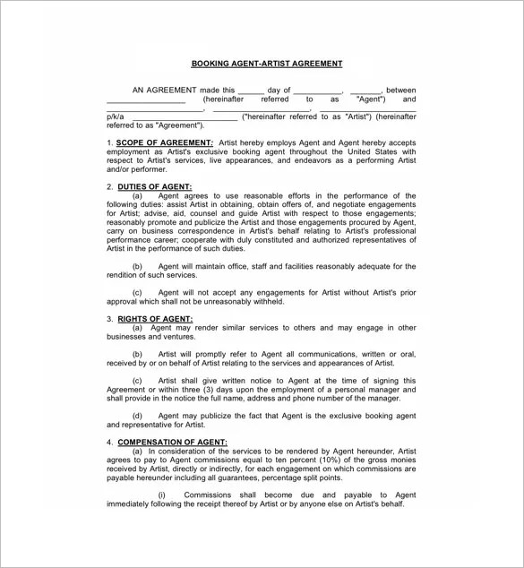 11+ Booking Agent Contract Templates \u2013 Free Word, PDF Documents - Booking Agent Contract Template