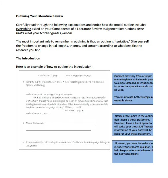 6+ Literature Review Outline Templates u2013 Free Word, PDF Documents - printable book review template