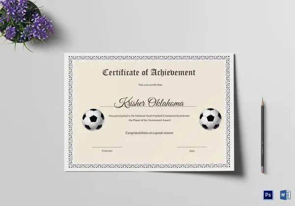 11+ Football Certificate Templates - Free Word, PDF Documents - editable certificate templates