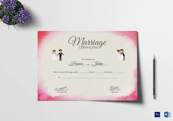 Marriage Certificate Template - 12+ Word, PDF, PSD Format Download - marriage certificate template