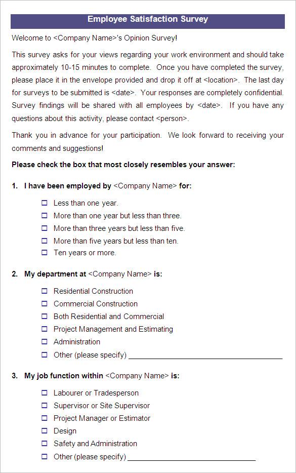 employee satisfaction survey samples - Boatjeremyeaton - job satisfaction survey template