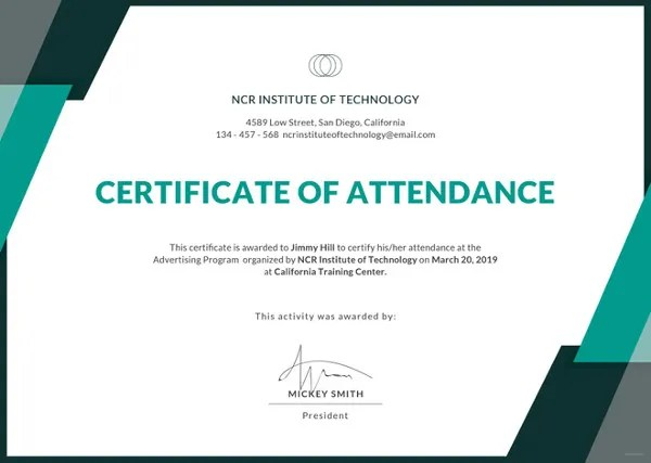 20+ Attendance Certificate Templates - DOC, PDF, PSD Free