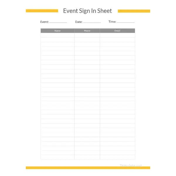 75+ Sign In Sheet Templates - DOC, PDF Free  Premium Templates