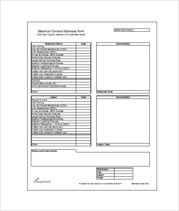 6+ Contractor Estimate Templates u2013 Free Word, Excel \ PDF - excel job sheet template