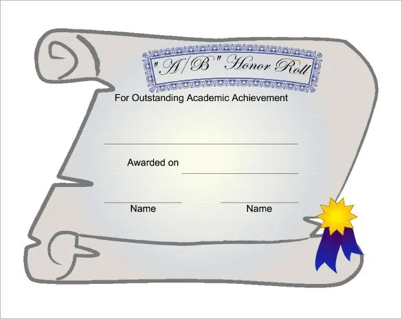 9+ Printable Honor Roll Certificate Templates \u2013 Free Word, PDF