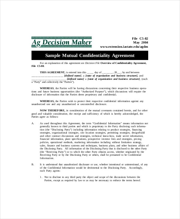 10+ Mutual Confidentiality Agreement Templates \u2013 Free Sample