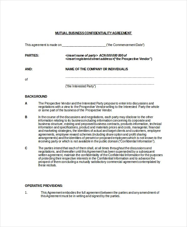 9+ Legal Confidentiality Agreement Templates \u2013 Free Sample, Example - mutual agreement contract sample