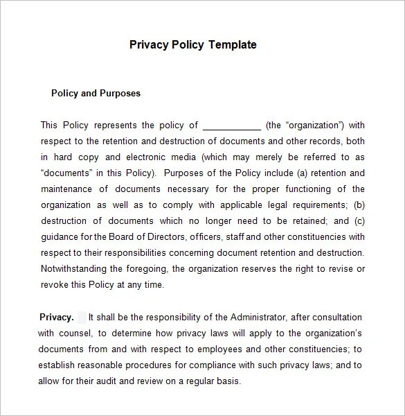8+ Privacy Policy Templates \u2013 Free Samples, Examples  Formats