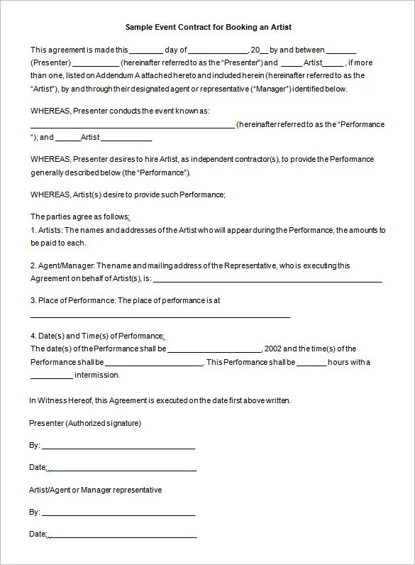 sample artist management contract