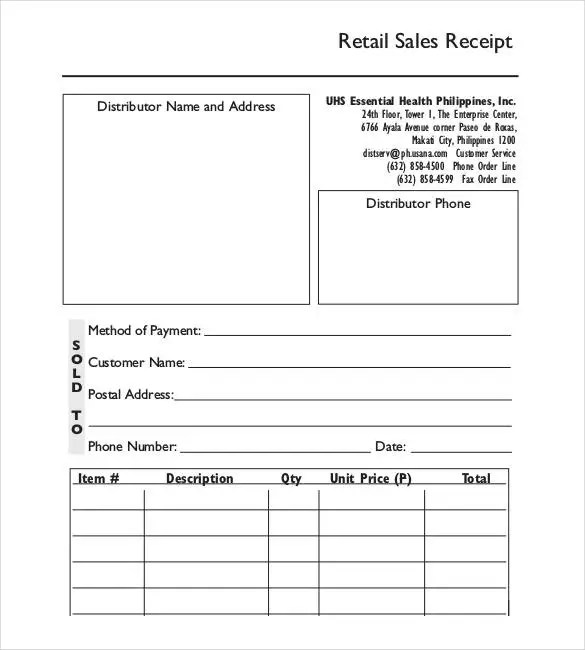 Sales Receipt Template - 27+ Free Word, Excel, PDF Format Free