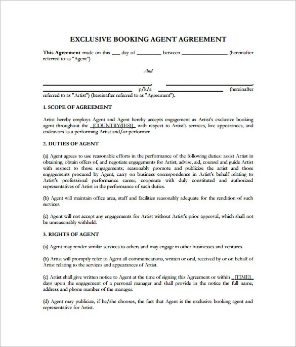 11+ Booking Agent Contract Templates \u2013 Free Word, PDF Documents - sample artist contract template