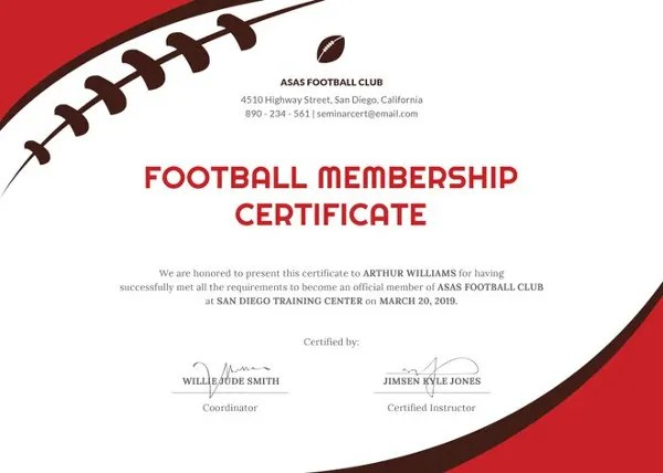 11+ Football Certificate Templates - Free Word, PDF Documents - football certificate template
