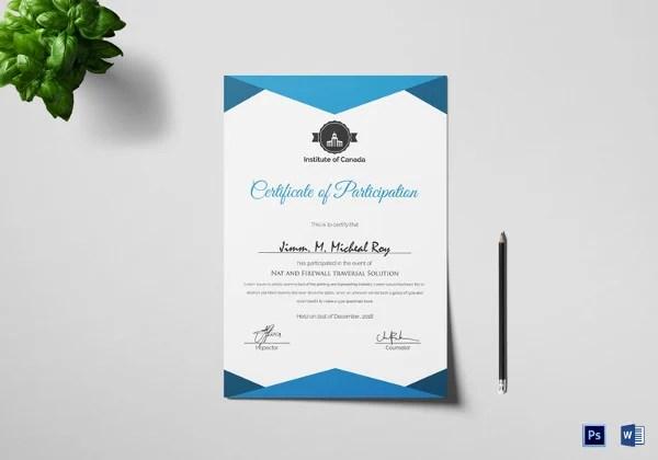 25+ Participation Certificate Templates - PDF, DOC, PSD F Free - design of certificate of participation