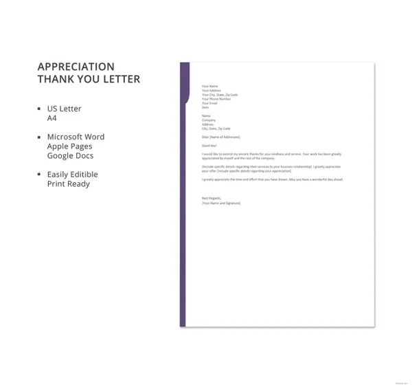 Thank You Letter for Appreciation \u2013 10+ Free Word, Excel, PDF Format