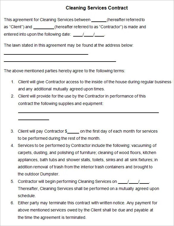 Blank Printable Residential Cleaning Contracts,Printable.Printable