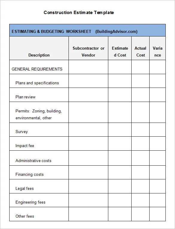 5+ Construction Estimate Templates - PDF, DOC, Excel Free