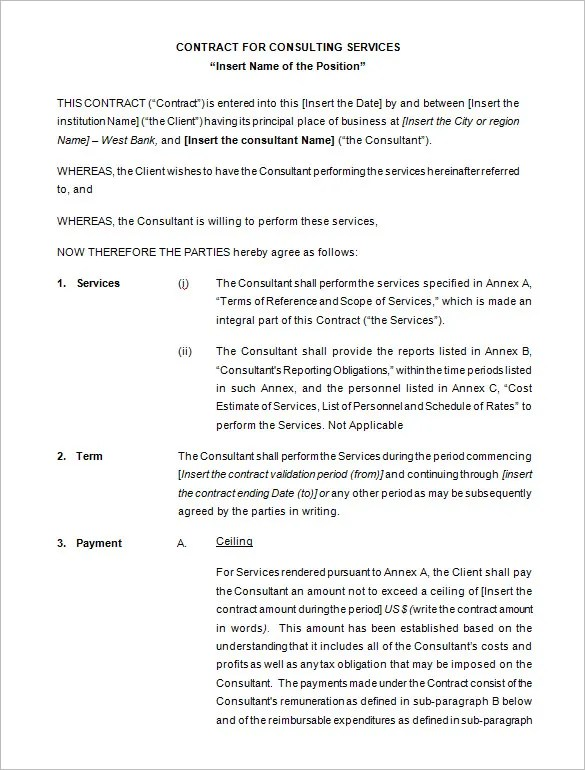 10+ Consulting Contract Templates - PDF, DOC Free  Premium Templates - consulting contract template