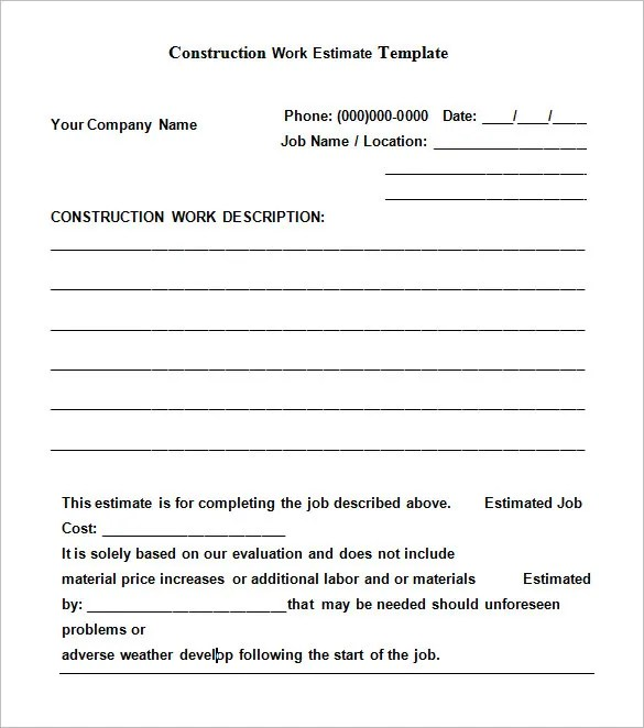 free construction estimate forms templates - Onwebioinnovate - construction form templates