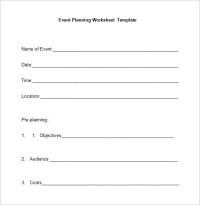 Event Planning Worksheets - Kidz Activities