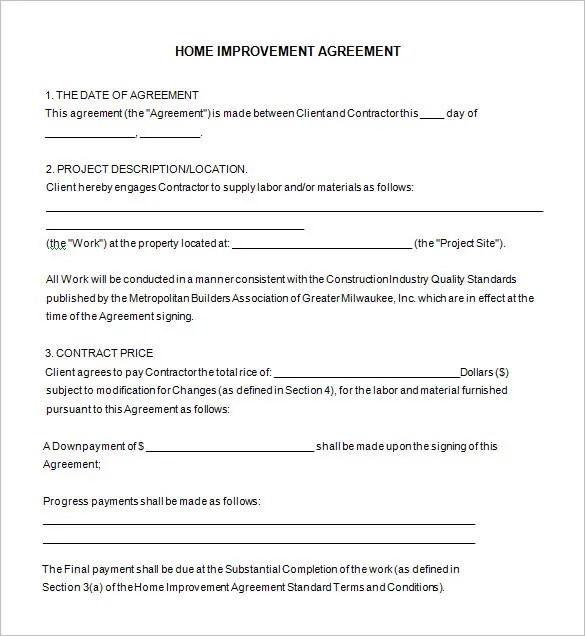Home Remodeling Contract Template -7+ Free Word, PDF Documents - free construction contracts templates