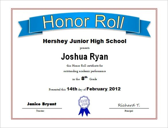 9+ Printable Honor Roll Certificate Templates u2013 Free Word, PDF - sample school certificate