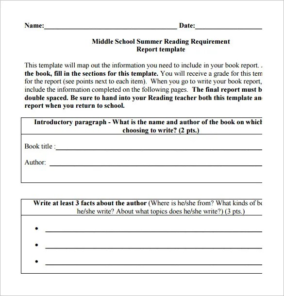 7+ Middle School Book Report Templates \u2013 Free PDF Documents Download - book report template free