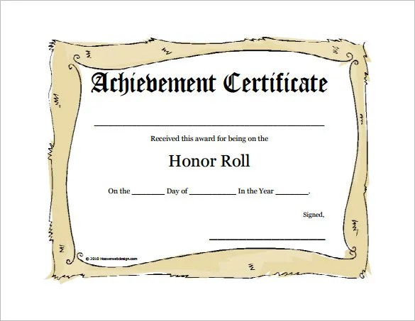 9+ Printable Honor Roll Certificate Templates \u2013 Free Word, PDF - free printable honor roll certificates