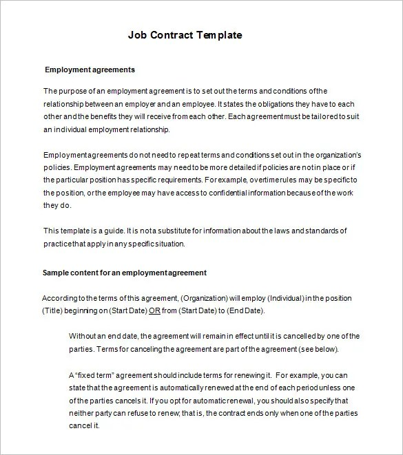18+ Job Contract Templates - Word, Pages, Docs Free  Premium