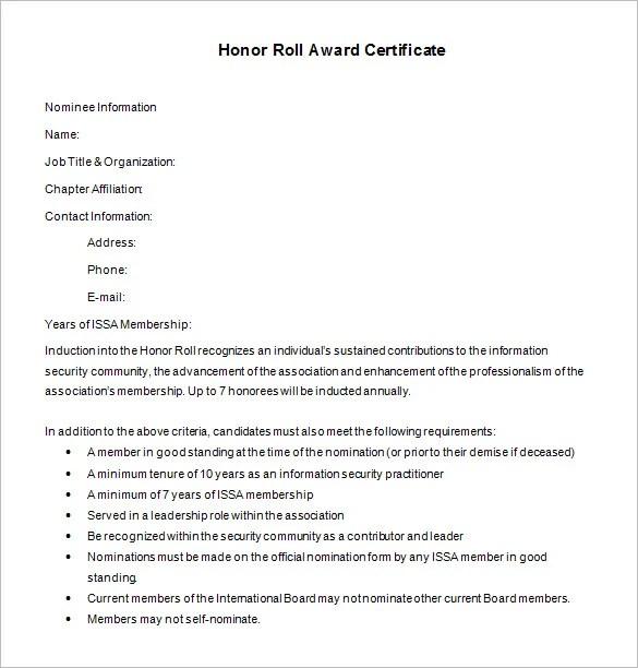 9+ Printable Honor Roll Certificate Templates \u2013 Free Word, PDF - free honor roll certificate template