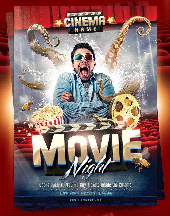 free movie flyer template - Idealvistalist - movie night flyer template