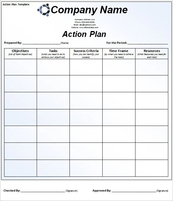 smart action plans template - Onwebioinnovate - sample smart action plan