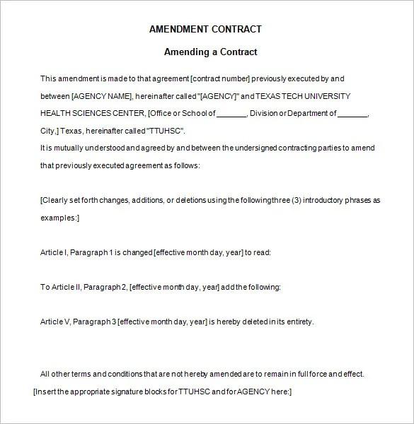 Sample Construction Contract Amendment – Sample Construction Contract Template
