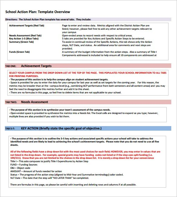 School Action Plan Template \u2013 5+ Free Word, Excel, PDF Format - needs assessment format