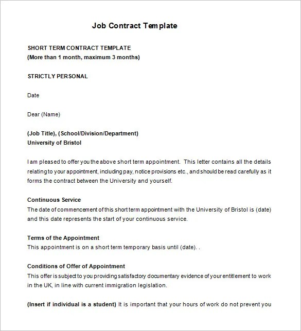 17+ Job Contract Templates - Free Word, PDF Documents Download